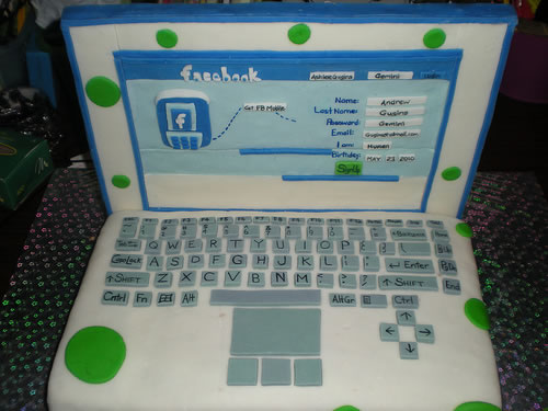 laptopfacebook cake design