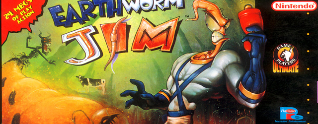 Earthworm Jim SNES game artwork