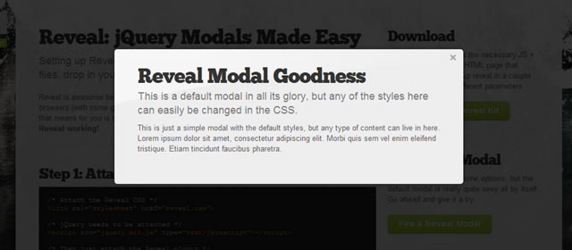 Reveal - jQuery Modal Plugin