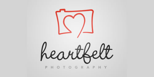 red color logo design inspiration brand Heartfelt Photography l