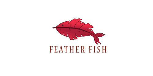 red color logo design inspiration brand feather fish l