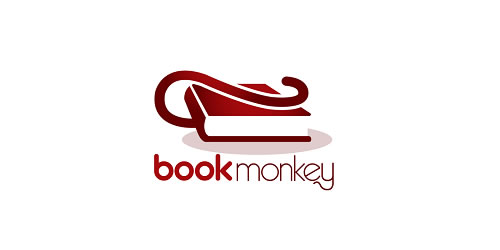 red color logo design inspiration brand Book Monkey