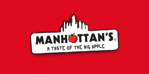 red color logo design inspiration brand Manhattans