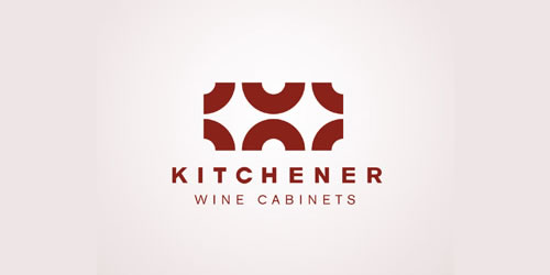 red color logo design inspiration brand Kitchener wine cabinets  l