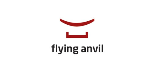 red color logo design inspiration brand Flying Anvil  l