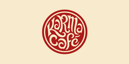 red color logo design inspiration brand Karma Café  l