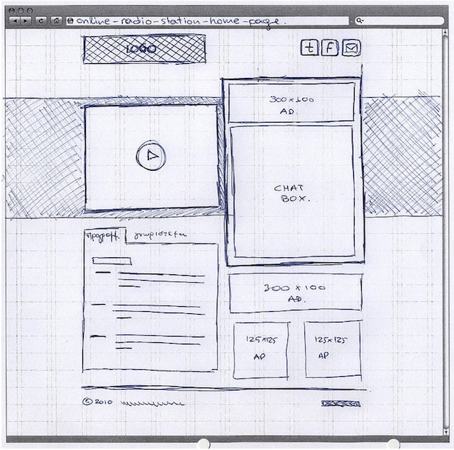sketch are the visual cues such as the play button with the triangle and circle Hand-drawn Wireframe Sketches