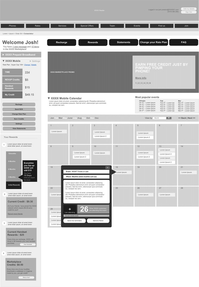digital Wireframe A sketch of a mobile calendar