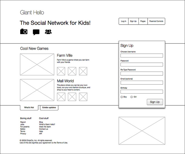 homepage wireframe sketch of a social network digital