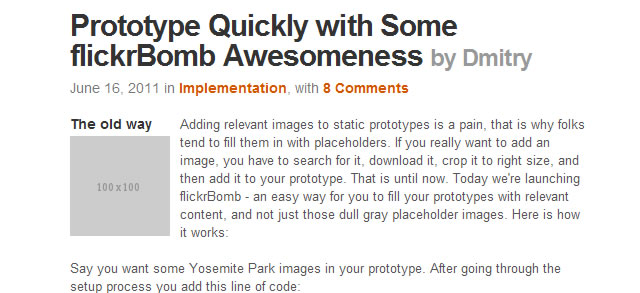 Prototype Quickly with flickrBomb
