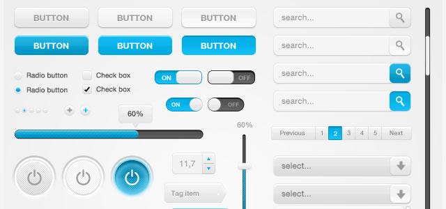 White & Blue Web Ui Kit (PSD)