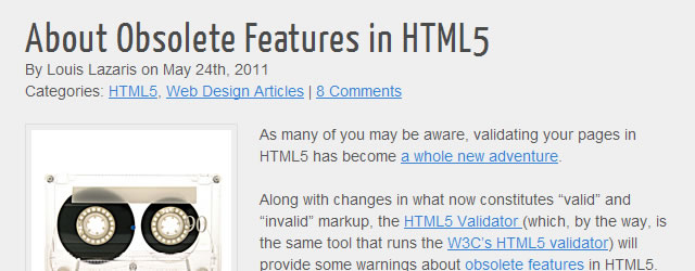 About Obsolete Features in HTML5