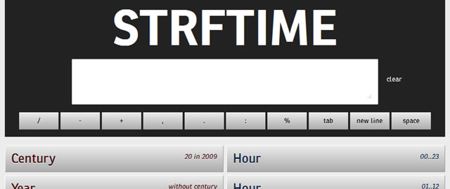 Strftime App - Placeholder Symbols for Date Formatting
