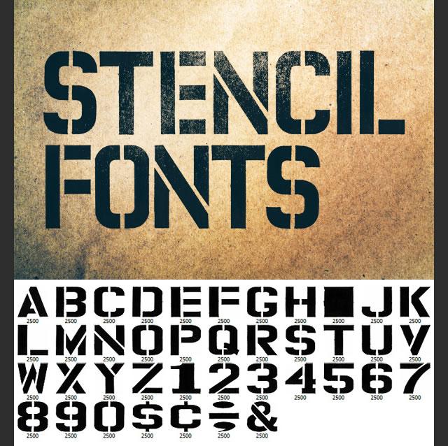 Permanent Market Stencil Fonts (Photoshop Brushes)