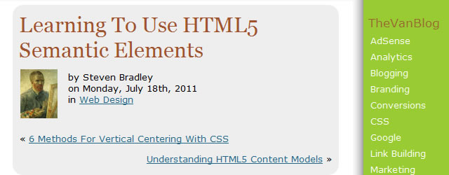 Learning To Use HTML5 Semantic Elements