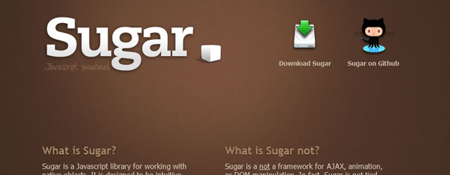 Sugar - A simple Javascript library for working with native objects
