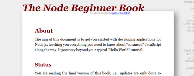 The Node Beginner Book - A comprehensive Node.js tutorial