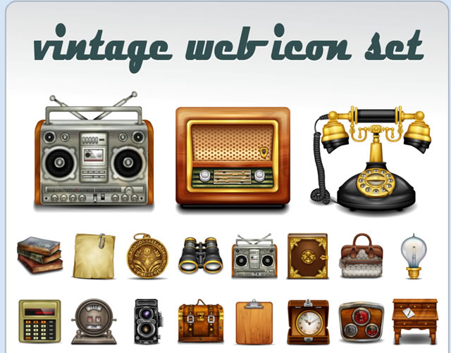 Free Vintage Web Icon Set (50 Icons)