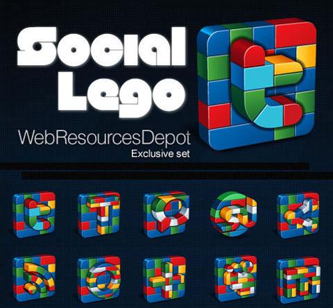 Social Lego: Free Vector Social Icons Set