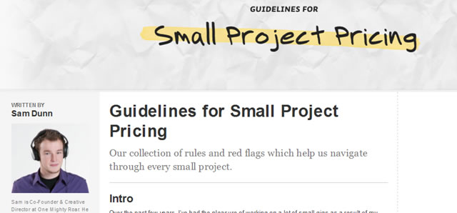 Guidelines for Small Project Pricing