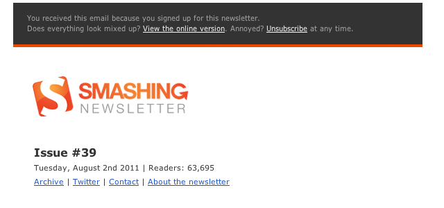 Smashing Magazine Newsletter - August 2011