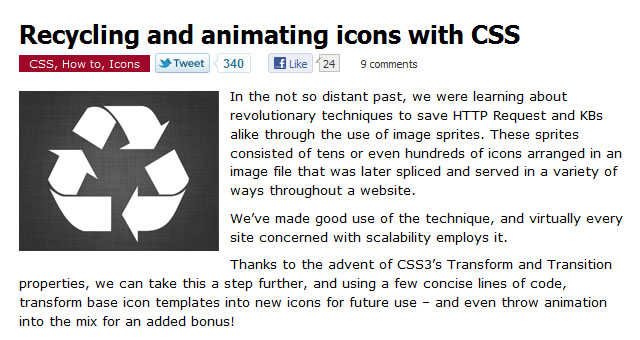 Recycling and animating icons with CSS