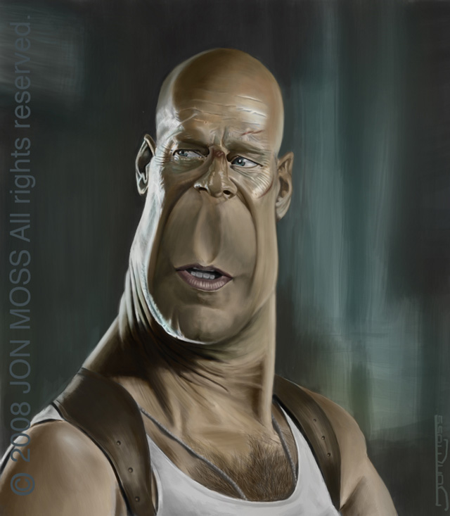 Bruce Willis Caricature Celebrity Caricatures Funny