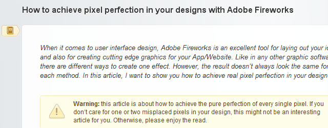 pixel perfection in your designs with Adobe Fireworks