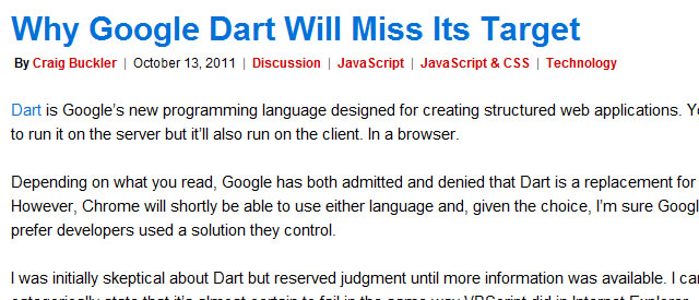 Why Google Dart Will Miss Its Target