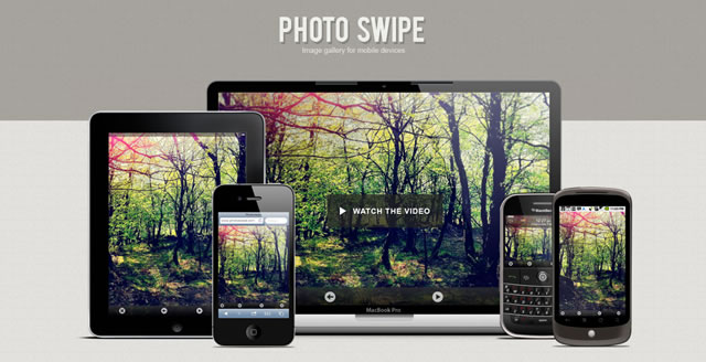 PhotoSwipe an HTML/CSS/JavaScript-based image gallery specifically targeting mobile and touch devices