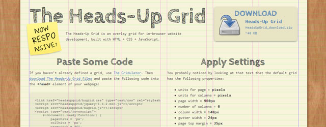 The Heads-Up Grid a responsive overlay grid for in-browser website development