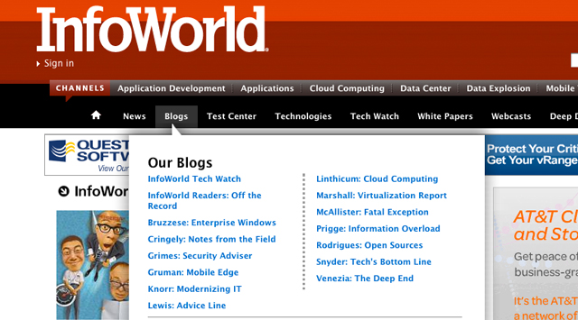 InfoWorld website nav design