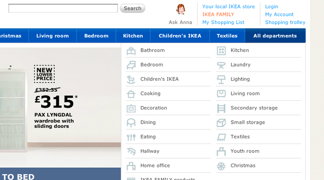 Ikea furniture drop-down nav