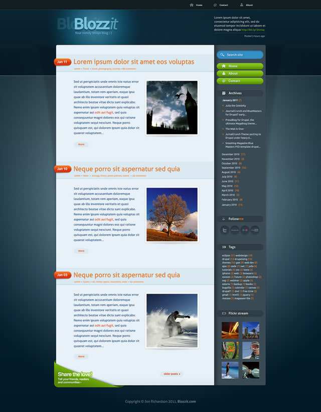 Free Html Templates | Freebie Blozzit A Free Professional Html Css Web Template