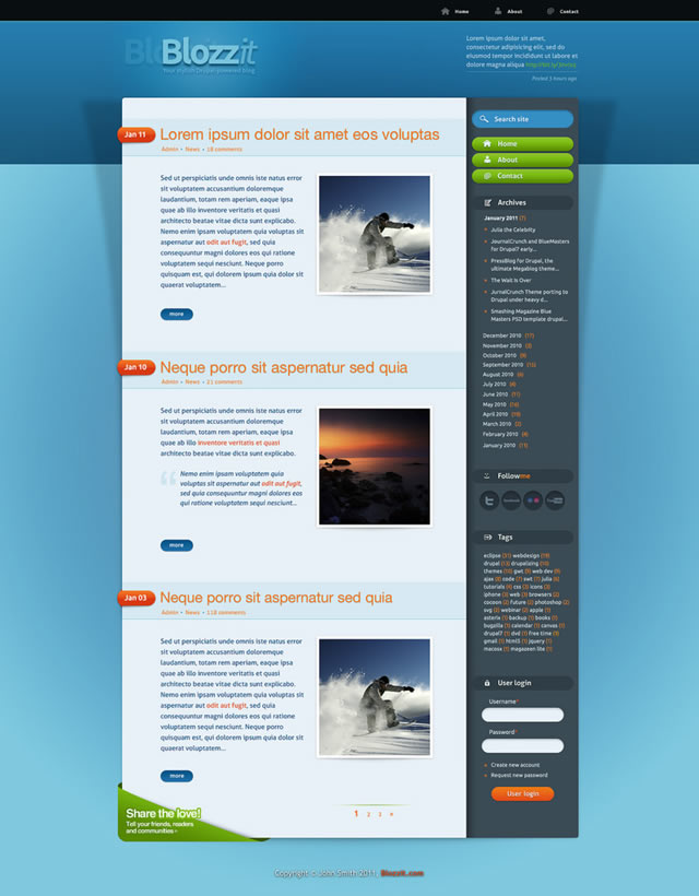 BlozZit Free Template html css main page