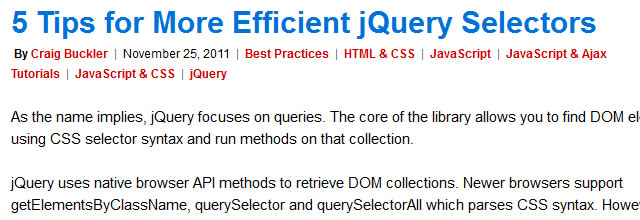 5 Tips for More Efficient jQuery Selectors