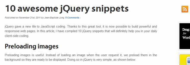 10 Awesome jQuery Snippets