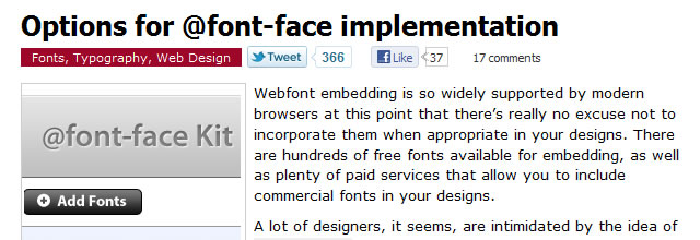 Options for @font-face implementation