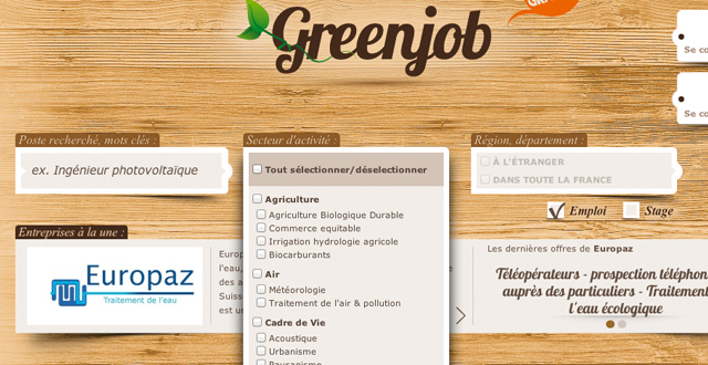 Greenjobs France website sub-navigation menu demo