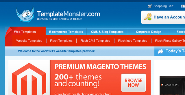 Template Monster web design templates - subnavigation menu layout