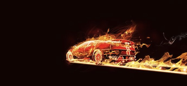 How to creat a flaming car image in Adobe Photoshop