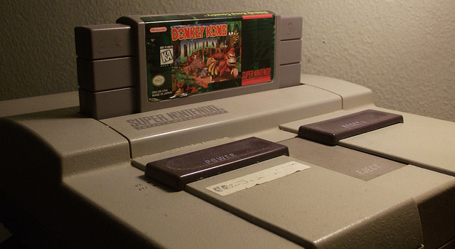 SNES with Donkey Kong Country game