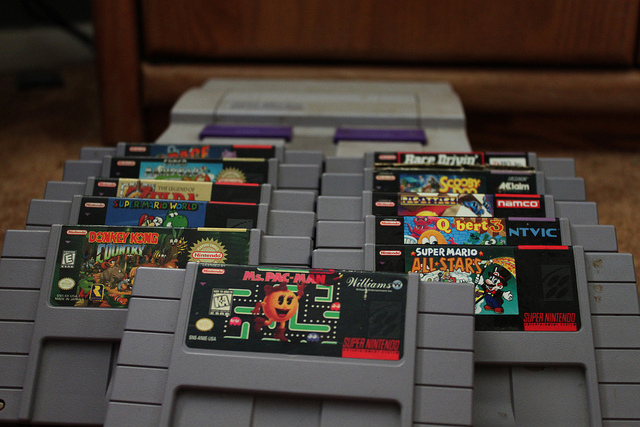 old cartidge gaming for Super Nintendo system