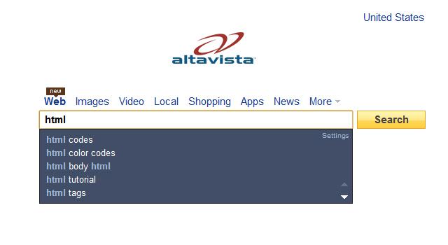 AltaVista home page suggested keywords