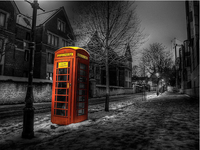 b and w shot coloring Telephone in Selective Colour