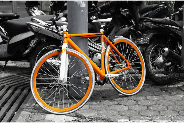 Orange bicycle