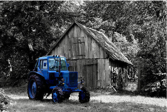 black and white photograph and adding partial color effects We all livin' in a blue tractor