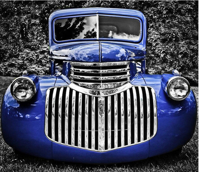 black and white photograph and adding partial color effects Black and Blue