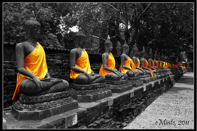 Black and white photograph and adding partial color effects buddha