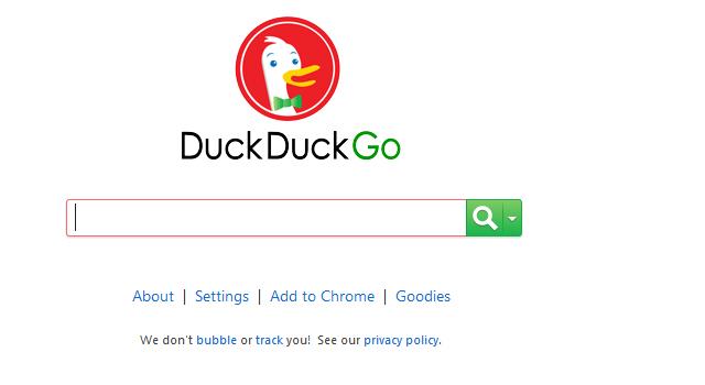 DuckDuckGo Home page web design UI
